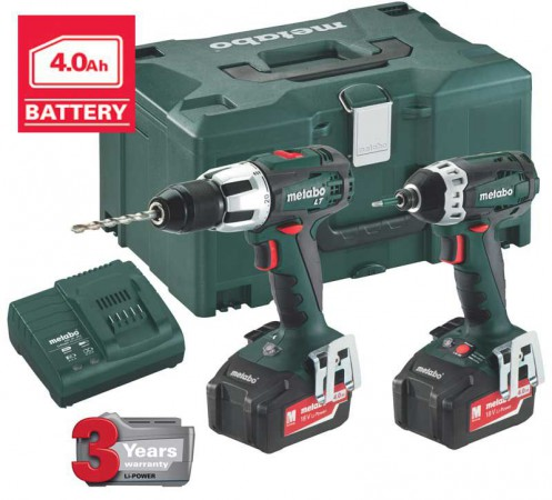 METABO COMBO SET 2.1.3 18V X 4.0Ah  CORDLESS TWIN PACK SB18LT & SSD18 was £299.95