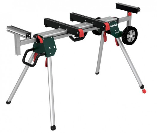Metabo KSU251 Mitre Saw Stand with adjustable rollers, length stop, adjustable foot and transportation wheel