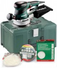 METABO SXE450 TURBO TEC 240V DUO ORBIT 2.8 OR 6.2MM ACTION SANDER & METALOC CASE PLUS ASSORTED ACCESSORIES £169.95