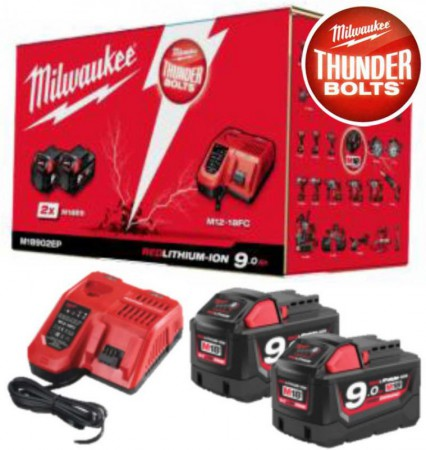 Milwaukee M18NRG-902 M18 18V 9.0Ah Energy Pack - 2 x 9.0Ah Batteries + Charger (For Instore or Click & Collect Sales Onl