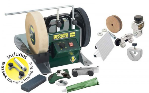 "Record Power WG250 10"" Wetstone Grinder + Diamond Truing Jig + Free Woodturners Sharpening Pack & Free Delivery!"