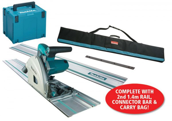Makita SP6000K1 240V 165mm Plunge Saw, Carry Case with 2 x 1.4m Rails & Connector Bar & Rail Carry Bag