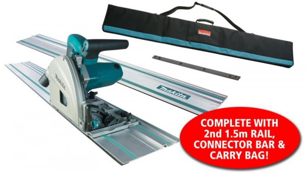 Makita SP6000K1 240V 165mm Plunge Saw, Carry Case with 2 x 1.5m Rails & Connector Bar & Rail Carry Bag
