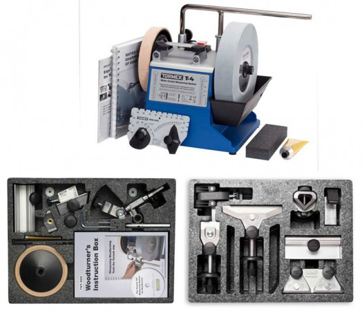 TORMEK T-4 WATER COOLED SHARPENING SYSTEM WITH NVR SWITCH & HTK-706 HAND TOOL KIT & TNT-708 ACCESSORY KITS