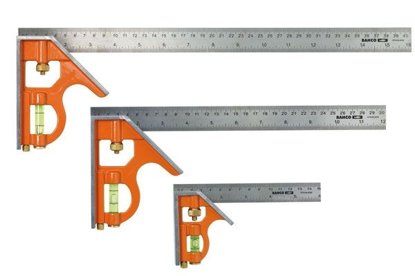 Bahco Combination Square Pack Of 3 Sizes- 150mm, 300mm & 400mm