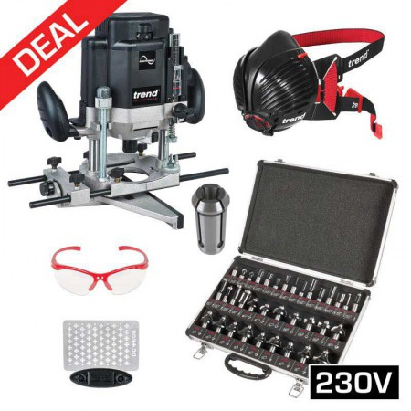 TREND T10EK 240V Mega Deal Kit Specs, Stealth Mask, 35pc Cutter Set, Diamond Sharpener + 1/4 Collet