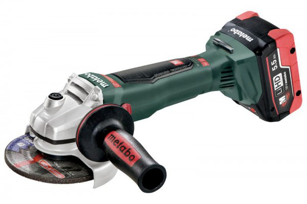 Metabo WB 18 LTX BL 125 Quick 18V Brushless Cordless Angle Grinder with 2 x 18V 5.5Ah LiHD Batteries, Charger and Case
